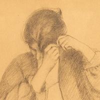 Étude, femme se coiffant