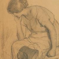 Jeune Femme au bord de son lit