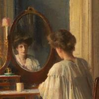 Intérieur, femme à sa toilette