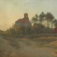 Église et cabane rouge