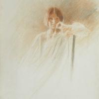 Portrait de femme accoudée