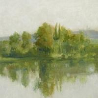 Paysage, bord d'eau au bouquet d'arbres