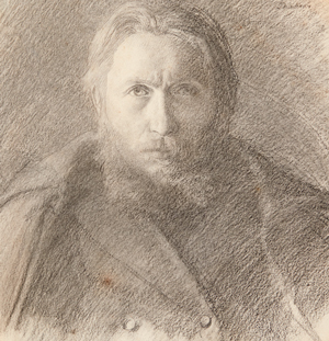 """Léon Delachaux, """"Autoportrait au manteau"""" (détail), circa 1885, craie noire. Collection privée"""