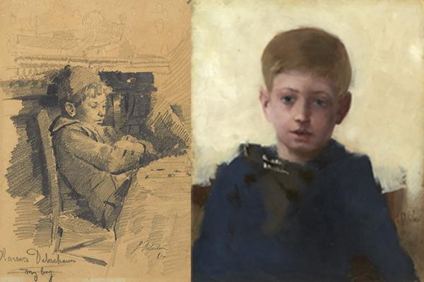 """Fig. 3 : Léon Delachaux, """"Clarence Delachaux, my boy"""", 1884, pierre noire, collection particulière. Fig. 4 : Léon Delachaux, """"Portrait de Clarence Delachaux"""", 1887, huile sur panneau, collection particulière."""