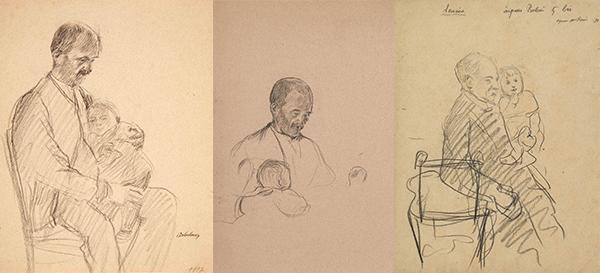 """Fig. 8 : Léon Delachaux, """"Homme tenant un bébé sur son genou, étude"""", 1897, pierre noire, 26,6 x 21 cm, collection particulière. Fig. 9 : Léon Delachaux, """"Homme assis avec bébé sur ses genoux"""", 1897, pierre noire, 37,5 x 26,5 cm, collection particulière. Fig. 10 : Léon Delachaux, """"Homme tenant son petit-fils dans les bras"""", 1898, pierre noire, 32 x 24 cm, collection particulière."""