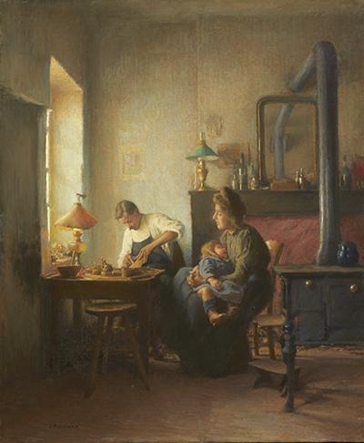 """Léon Delachaux, """"La famille du cordonnier"""", circa 1909, huile sur toile, Saint-Amand-Montrond, musée Saint-Vic."""
